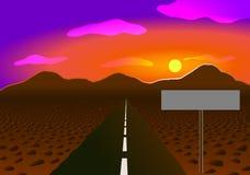 Illustrazione di vettore Strada nel deserto alle montagne Tramonto e pietre Fotografie Stock