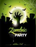 Illustrazione di vettore su un tema del partito dello zombie di Halloween Immagini Stock