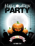 Illustrazione di vettore su un tema del partito di Halloween con i pumkins. Immagini Stock