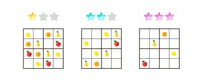 Illustrazione di vettore Sudoku per i bambini con le immagini a differente fotografie stock