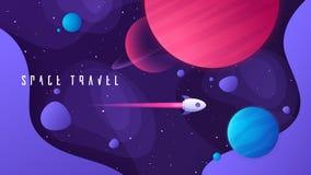Illustrazione di vettore sull'argomento di spazio cosmico, dei viaggi interstellari, dell'universo e delle galassie distanti illustrazione vettoriale
