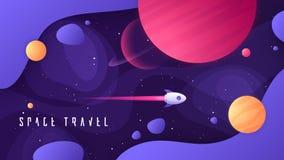 Illustrazione di vettore sull'argomento di spazio cosmico, dei viaggi interstellari, dell'universo e delle galassie distanti illustrazione di stock