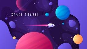 Illustrazione di vettore sull'argomento di spazio cosmico, dei viaggi interstellari, dell'universo e delle galassie distanti royalty illustrazione gratis