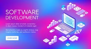 Illustrazione di vettore di sviluppo di software di Digital illustrazione di stock