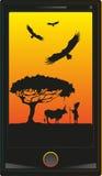 Illustrazione di vettore Telefono con l'Africano di immagine Fotografia Stock