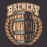 Illustrazione di vettore di un barilotto di birra su fondo scuro illustrazione vettoriale
