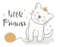 Illustrazione di vettore di un gatto divertente con la piccola iscrizione di principessa fotografia stock libera da diritti