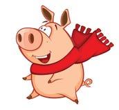 Illustrazione di vettore di un maiale sveglio Personaggio dei cartoni animati illustrazione vettoriale