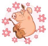 Un fumetto sveglio del porcellino salvadanaio illustrazione