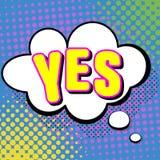 Illustrazione di vettore in un retro stile di Pop art SÌ mandi un sms a in una bolla di pensiero su un fondo colorato punto Immagini Stock Libere da Diritti