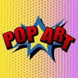 Illustrazione di vettore in un retro stile di Pop art Testo di POP ART su un fondo colorato punto Immagini Stock Libere da Diritti