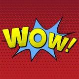 Illustrazione di vettore in un retro stile di Pop art Testo di wow su un fondo colorato punto Immagine Stock