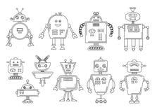 Illustrazione di vettore di un robot Progettazione di carattere meccanica Un insieme di quattro robot differenti Pagina del libro royalty illustrazione gratis