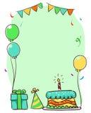 Illustrazione di vettore di un telaio del modello degli elementi di compleanno per il biglietto di auguri per il compleanno immagini stock