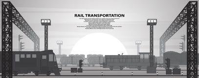 Illustrazione di vettore di un tema ferroviario Fotografia Stock
