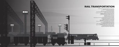 Illustrazione di vettore di un tema ferroviario Immagini Stock