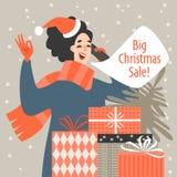 Illustrazione di vettore di una ragazza in cappello di Santa che parla su un telefono cellulare illustrazione di stock