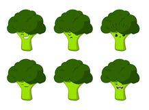 Illustrazione di vettore di una serie di caratteri di verdure di vettore del fumetto sveglio dei broccoli isolata su bianco emozi royalty illustrazione gratis