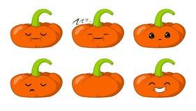 Illustrazione di vettore di una serie di caratteri di verdure di vettore del fumetto sveglio della zucca isolata su bianco emozio royalty illustrazione gratis