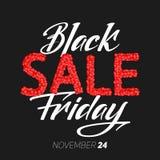 Illustrazione di vettore di vendita di Black Friday Con il testo scritto a mano di Black Friday Vendita costruita con sfere rosse Fotografia Stock