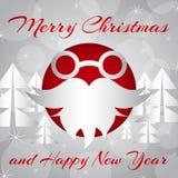 Illustrazione di vettore Vetri e barba del ` s di Santa sul fondo del ` s del nuovo anno fotografie stock libere da diritti