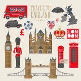 Illustrazione di vettore di viaggio dell'Inghilterra Viaggio al Se dell'Inghilterra Vacanza nel Regno Unito Fondo della Gran Bret royalty illustrazione gratis