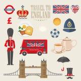 Illustrazione di vettore di viaggio dell'Inghilterra Corsa in Inghilterra Vacanza nel Regno Unito Fondo della Gran Bretagna Viagg royalty illustrazione gratis