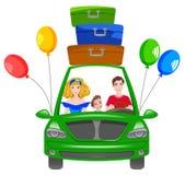 Illustrazione di vettore: viaggio felice della famiglia Fotografie Stock Libere da Diritti