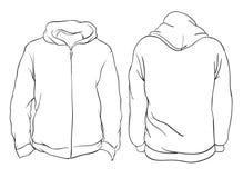Illustrazione di vettore Viste anteriori e posteriori del rivestimento in bianco di maglia con cappuccio I illustrazione di stock