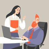 Illustrazione di vettore di vita dell'ufficio con un uomo e un disco della donna royalty illustrazione gratis