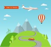 Illustrazione di viaggio con paesaggio Immagine Stock