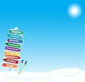Illustrazione di viaggio dello sci con le destinazioni famose dello sci illustrazione vettoriale