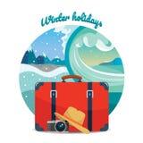 Illustrazione di viaggio di inverno turismo Valigia, macchina fotografica e cappello Elemento di disegno Fotografie Stock Libere da Diritti