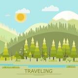 Illustrazione di viaggio di vettore di estate paesaggio Fotografia Stock Libera da Diritti