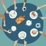 Illustrazione di vista superiore della cena della famiglia Fondo della tavola di cena illustrazione vettoriale
