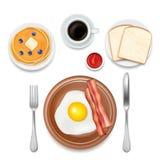 Illustrazione di vista superiore di vettore degli alimenti di prima colazione royalty illustrazione gratis