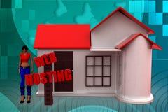 illustrazione di web hosting della donna 3D Fotografie Stock Libere da Diritti