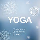 Illustrazione di yoga con i fiori disegnati a mano Illustrazione di Stock