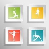 Illustrazione di yoga di vettore Bottoni quadrati con la siluetta delle ragazze Immagine Stock