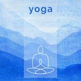 Illustrazione di yoga di vettore Manifesto per la classe di yoga con un contesto della natura Immagini Stock