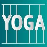 Illustrazione di yoga di vettore Yoga bianca dell'iscrizione ENV, JPG Fotografia Stock Libera da Diritti