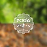 Illustrazione di yoga Insieme delle strutture e del logo per i manifesti di yoga ENV, JPG Immagini Stock Libere da Diritti