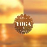 Illustrazione di yoga Insieme delle strutture e del logo per i manifesti di yoga ENV, JPG Immagine Stock Libera da Diritti
