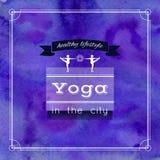 Illustrazione di yoga Nome dello studio di yoga su un fondo degli acquerelli ENV, JPG Fotografie Stock