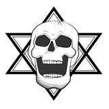 Illustrazione diabolica del cranio su bianco Alla moda, semplice e realistico Fotografia Stock Libera da Diritti