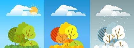 Illustrazione differente di stagione della foresta Progettazione di Lineart Fotografie Stock Libere da Diritti