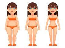 Illustrazione differente sottile grassa di vettore di progettazione del fumetto di dieta di salute delle fasi del carattere femmi royalty illustrazione gratis