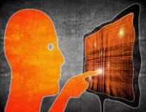 Illustrazione digitale dello schermo attivabile al tatto commovente dell'uomo Immagine Stock Libera da Diritti