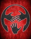 Illustrazione digitale di concetto di censura delle mani e della testa umana Fotografia Stock