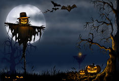 Illustrazione digitale spaventosa di Halloween Fotografia Stock Libera da Diritti